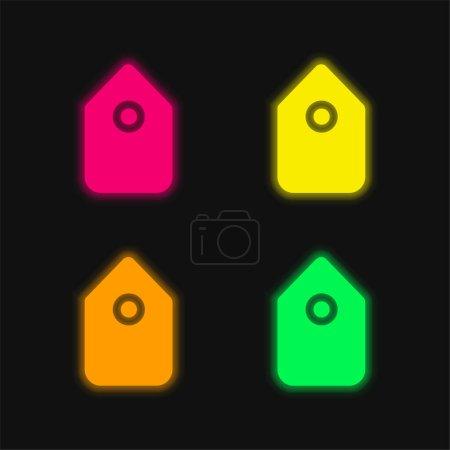 Illustration pour Symbole d'interface d'étiquette noire en position verticale icône vectorielle au néon éclatante de quatre couleurs - image libre de droit