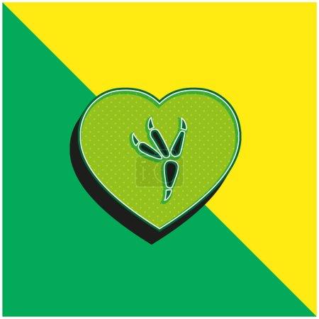 Illustration pour Impression Oiseau Logo vectoriel 3D moderne vert et jaune - image libre de droit