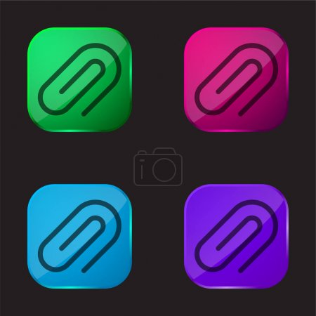Illustration for Attachment four color glass button icon - Royalty Free Image