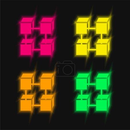 Photo pour Blockchain quatre couleur brillant icône vectorielle néon - image libre de droit