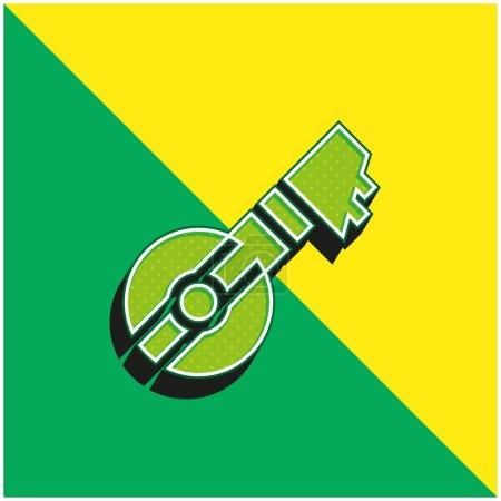 Bouzouki Green and yellow modern 3d vector icon logo