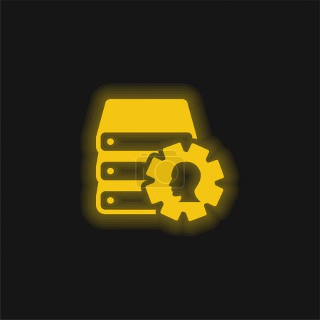 Illustration for Books Stack With Cogwheel And Male Side View Image yellow glowing neon icon - Royalty Free Image
