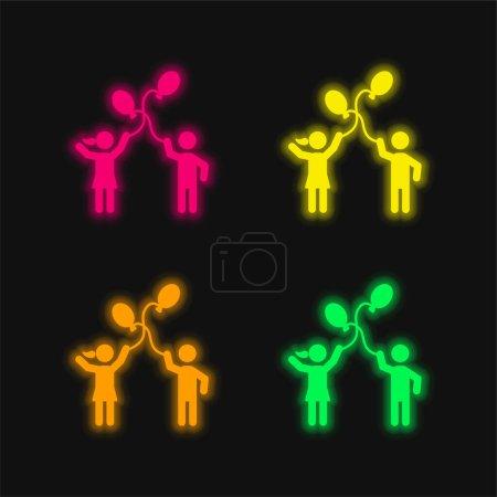 Illustration pour Ballon Jouer quatre couleurs brillant icône vectorielle néon - image libre de droit