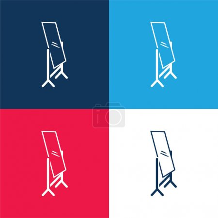 Bedroom Mirror blue and red four color minimal icon set