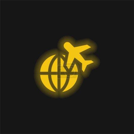 Photo pour Avion jaune brillant icône néon - image libre de droit