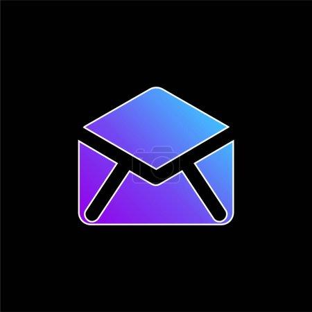 Illustration pour Icône vectorielle de dégradé bleu dos enveloppe ouverte noire - image libre de droit