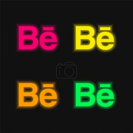 Behance four color glowing neon vector icon...