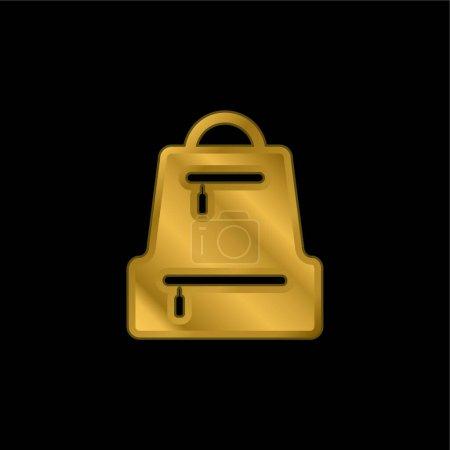 Illustration pour Sac Pack icône métallique plaqué or ou logo vecteur - image libre de droit