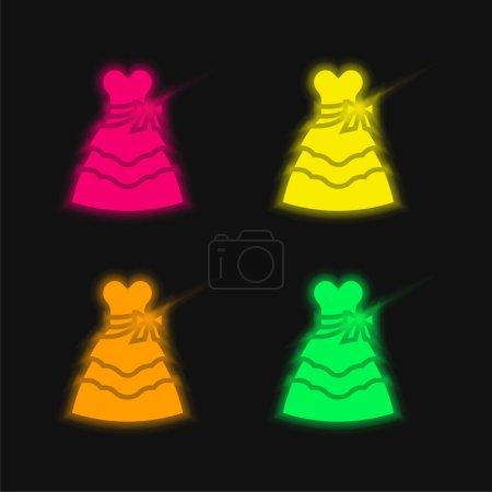 Illustration pour Robe de mariée quatre couleurs brillant icône vectorielle néon - image libre de droit
