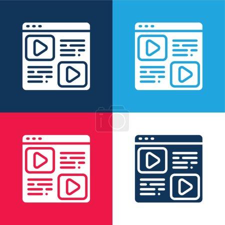 Illustration pour Blog bleu et rouge quatre couleurs minimum jeu d'icônes - image libre de droit