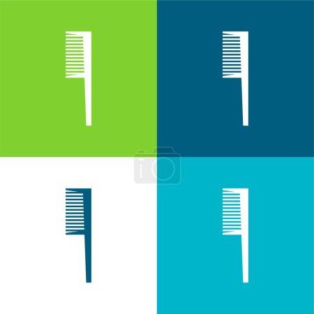 Illustration pour Outil de nettoyage de brosse de salle de bains Ensemble d'icônes minimal plat quatre couleurs - image libre de droit