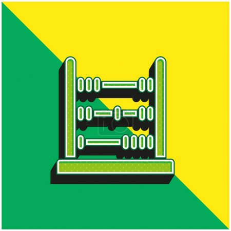 Abacus Green and yellow modern 3d vector icon logo
