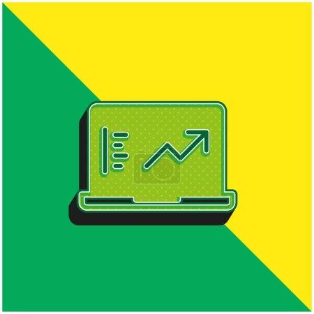 Illustration pour Analytics Logo vectoriel 3D moderne vert et jaune - image libre de droit