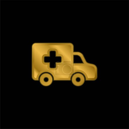 Illustration for Ambulance Side View gold plated metalic icon or logo vector - Royalty Free Image