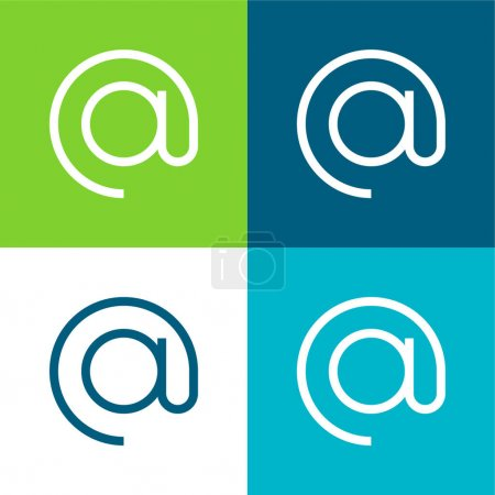 At Flat four color minimal icon set