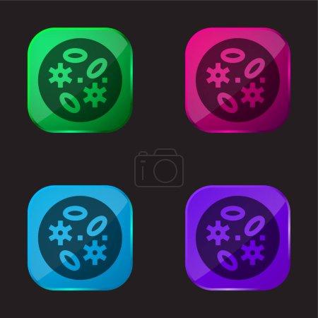 Illustration pour Bactéries icône bouton en verre quatre couleurs - image libre de droit
