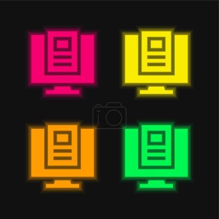 Photo pour Article icône vectorielle néon rayonnante de quatre couleurs - image libre de droit