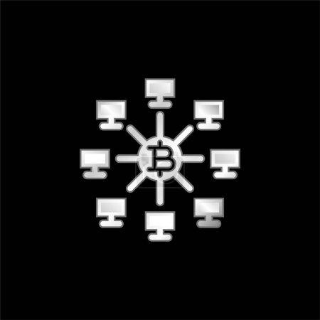 Illustration pour Bitcoins argent plaqué icône métallique - image libre de droit