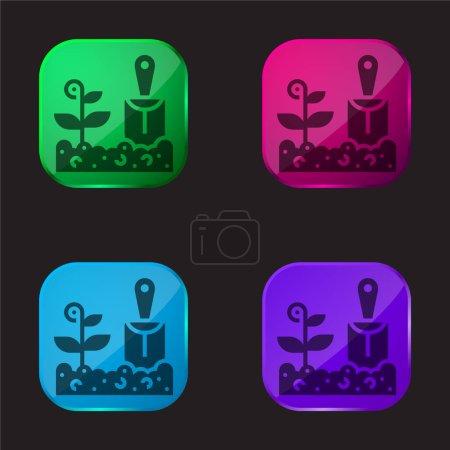 Illustration pour Agriculture icône bouton en verre quatre couleurs - image libre de droit