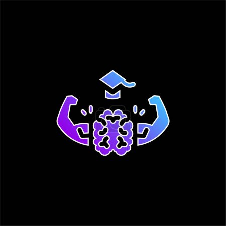 Illustration for Brain blue gradient vector icon - Royalty Free Image