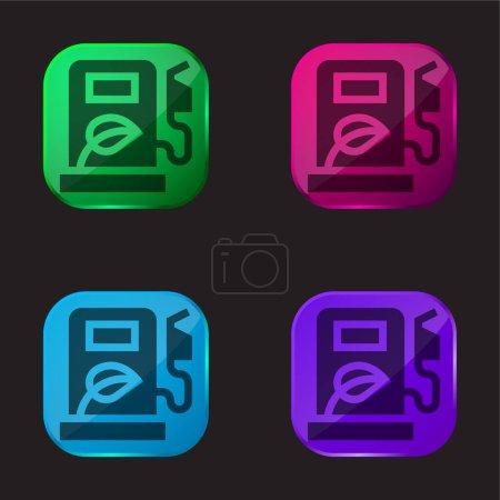 Biofuel icono de botón de cristal de cuatro colores