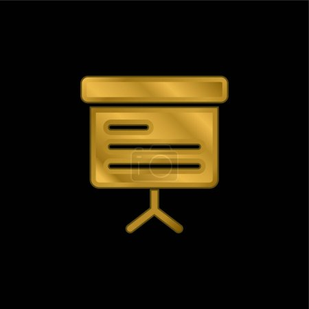 Blackboard gold plated metalic icon or logo vector
