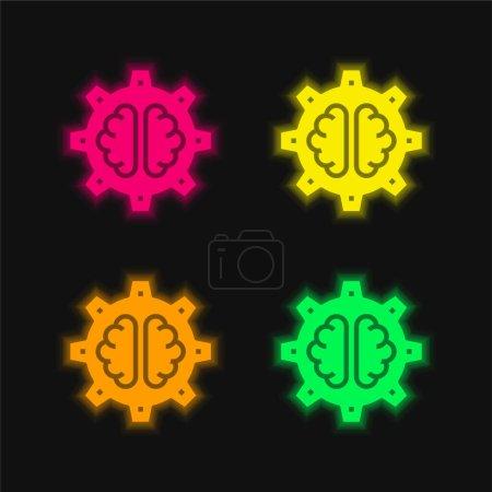 Foto de AI cuatro colores brillante icono de vectores de neón - Imagen libre de derechos