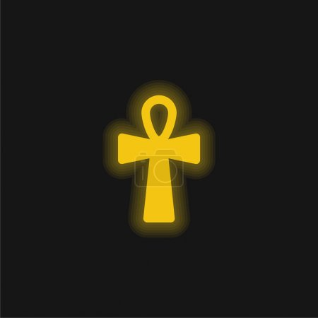 Photo pour Ankh Croix jaune néon brillant icône - image libre de droit