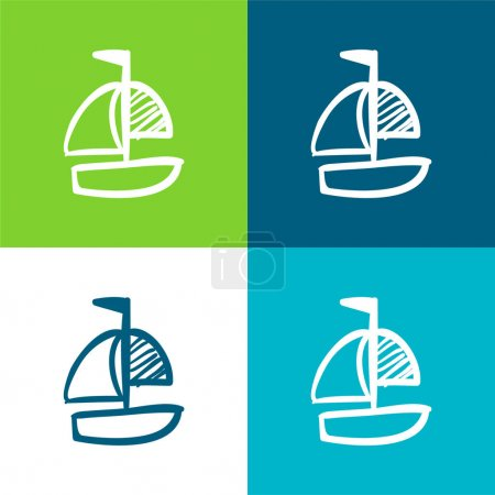 Boat Hand Drawn Toy Flat four color minimal icon set