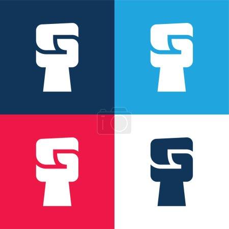 Illustration pour Ensemble d'icônes minime quatre couleurs noir Power bleu et rouge - image libre de droit