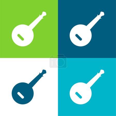 Banjo Flat conjunto de iconos mínimos de cuatro colores