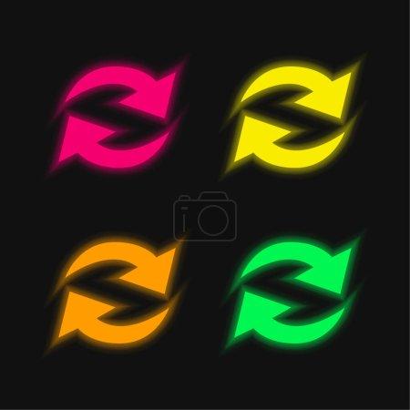 Illustration pour Actualiser les flèches couple en cercle quatre couleur brillant néon vecteur icône - image libre de droit