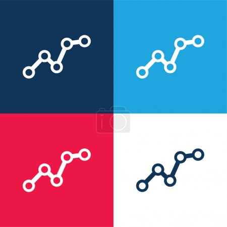 Illustration for Ascending Business Graphic blue and red four color minimal icon set - Royalty Free Image