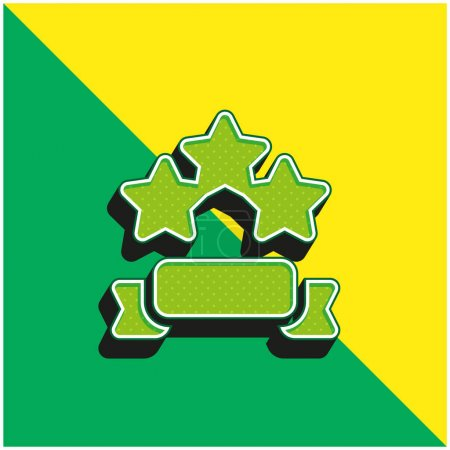 Illustration for Banner Green and yellow modern 3d vector icon logo - Royalty Free Image