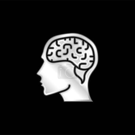 Brain silver plated metallic icon