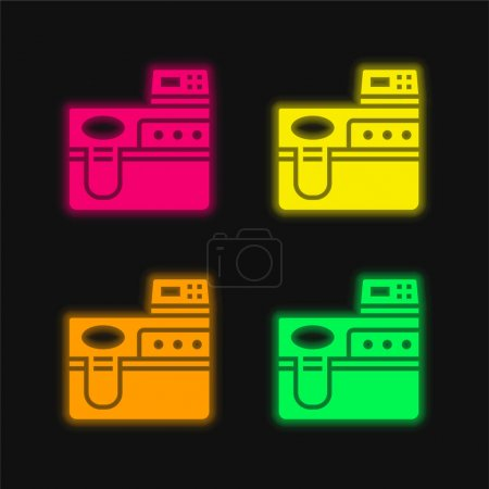 Illustration for Biotechnology four color glowing neon vector icon - Royalty Free Image
