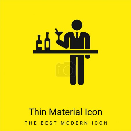 Illustration for Barman minimal bright yellow material icon - Royalty Free Image