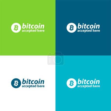 Illustration pour Bitcoin accepté ici Logo plat quatre couleurs minimum jeu d'icônes - image libre de droit