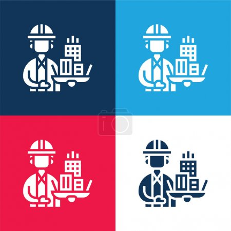 Architect blue and red four color minimal icon set