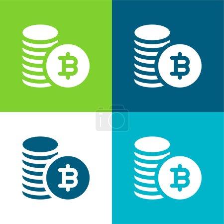 Photo pour Bitcoin Flat quatre couleurs minimum jeu d'icônes - image libre de droit