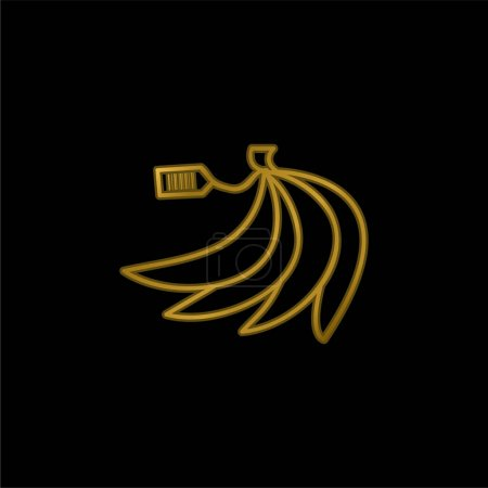 Illustration for Bananas With Barcode On Label gold plated metalic icon or logo vector - Royalty Free Image