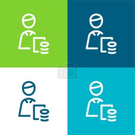 Illustration pour Comptable Ensemble d'icônes minime plat quatre couleurs - image libre de droit
