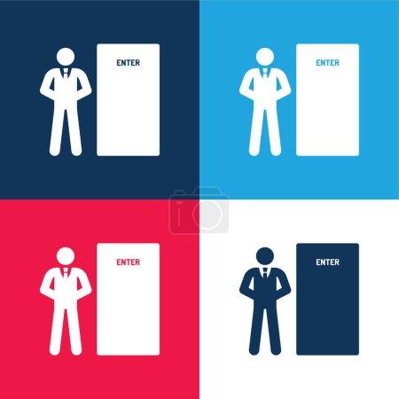 Photo pour Bodyguard bleu et rouge quatre couleurs minimum jeu d'icônes - image libre de droit