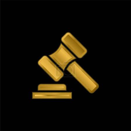 Illustration pour Vente aux enchères plaqué or icône métallique ou logo vecteur - image libre de droit