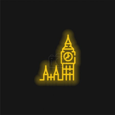 Big Ben yellow glowing neon icon