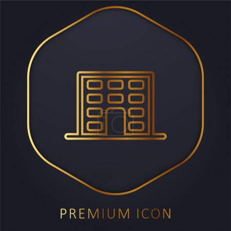 Illustration for Aparments Building golden line premium logo or icon - Royalty Free Image
