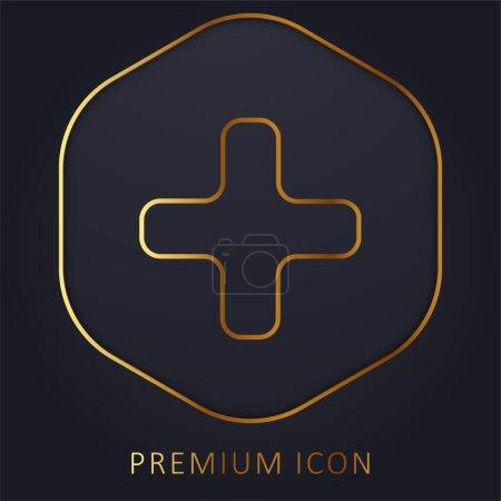 Illustration for Black Plus Sign golden line premium logo or icon - Royalty Free Image