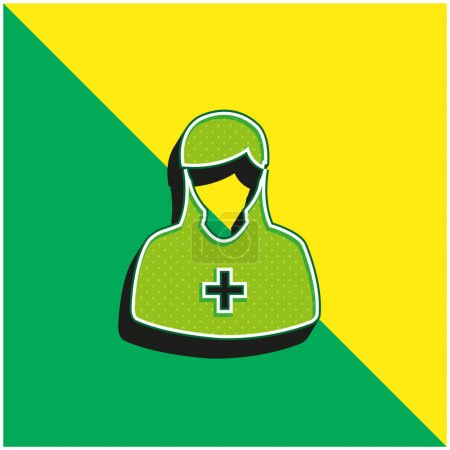 Illustration for Add Female Avatar Green and yellow modern 3d vector icon logo - Royalty Free Image