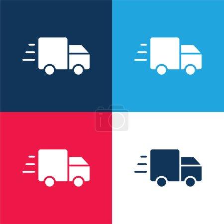 Illustration pour Publicité bleu et rouge quatre couleurs minimum jeu d'icônes - image libre de droit