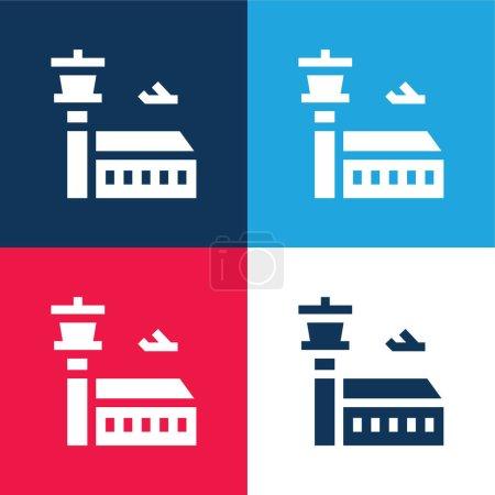 Illustration pour Ensemble d'icônes minime quatre couleurs bleu et rouge aéroport - image libre de droit